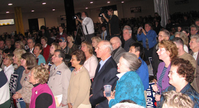 Crowd and Ehrlich thank you party.